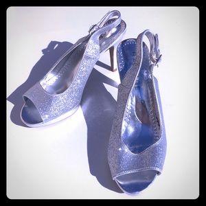 RAMPAGE Silver Glitter open toe Strap Heels